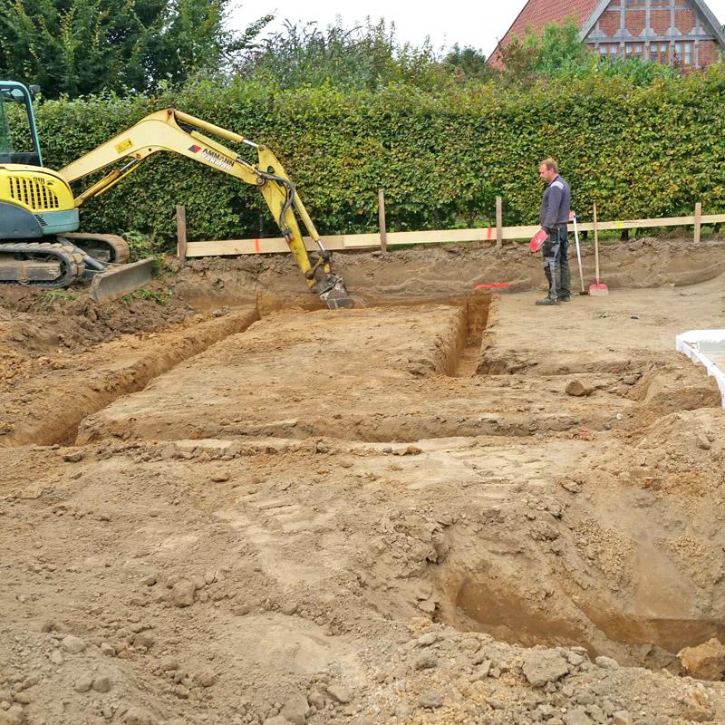 Bodenplatte für Neubau eines Wohnblockhauses